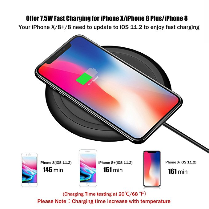 7.5W fast wireless charger portable round pad for iPhone F120