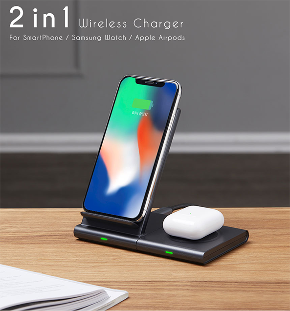 Q400 Wireless Charging duo for airpod galaxy watch