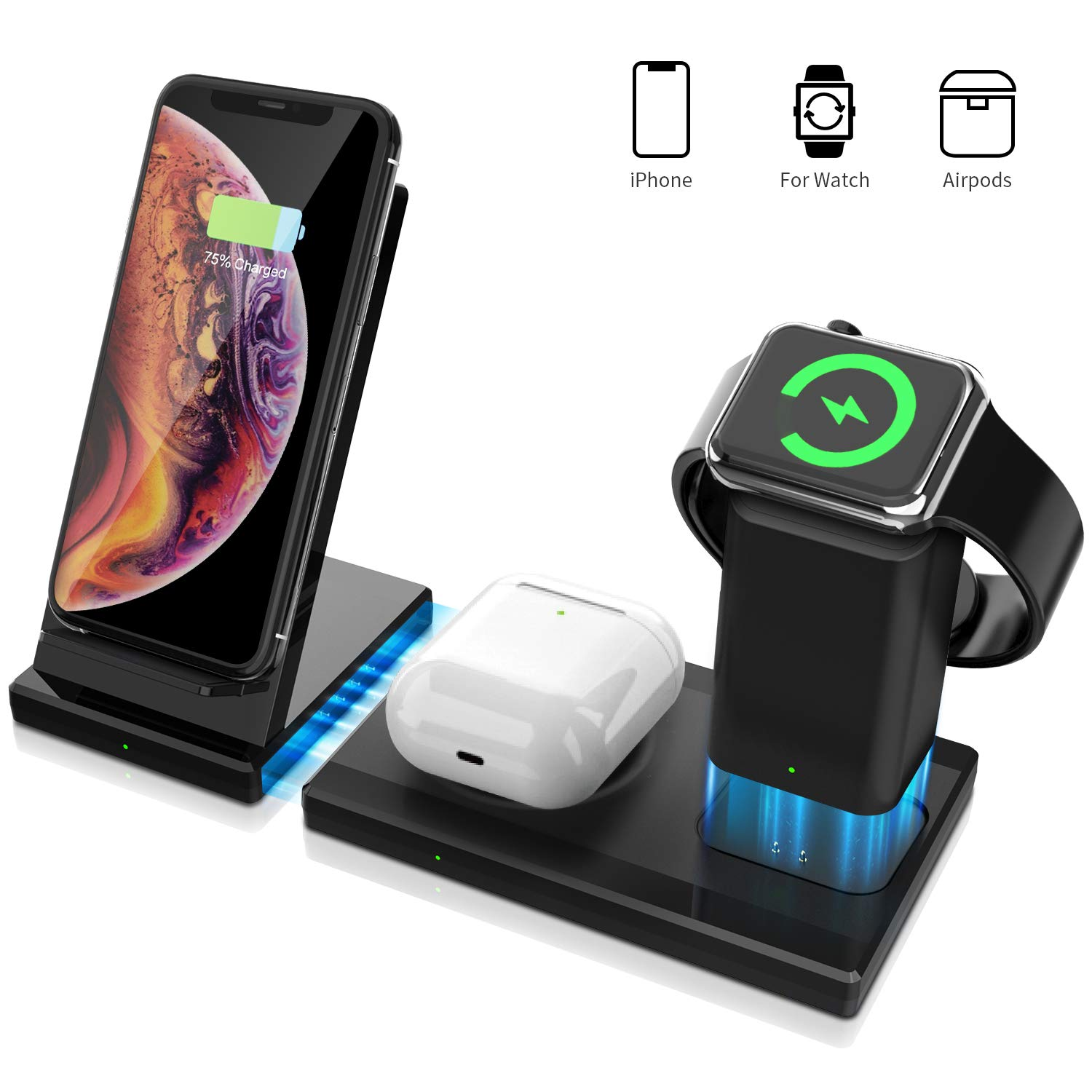 3 in 1 apple watch airpods pro iphone fast wireless charger