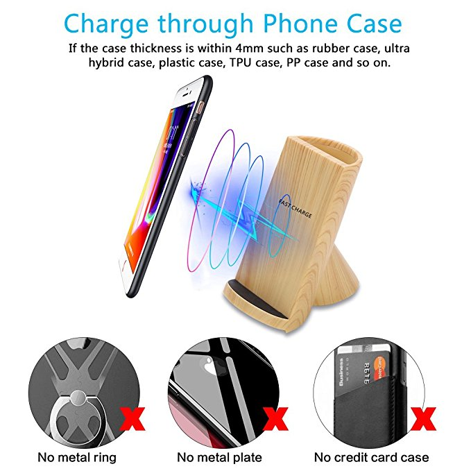 Pen box wireless charger water transfer print wooden grain