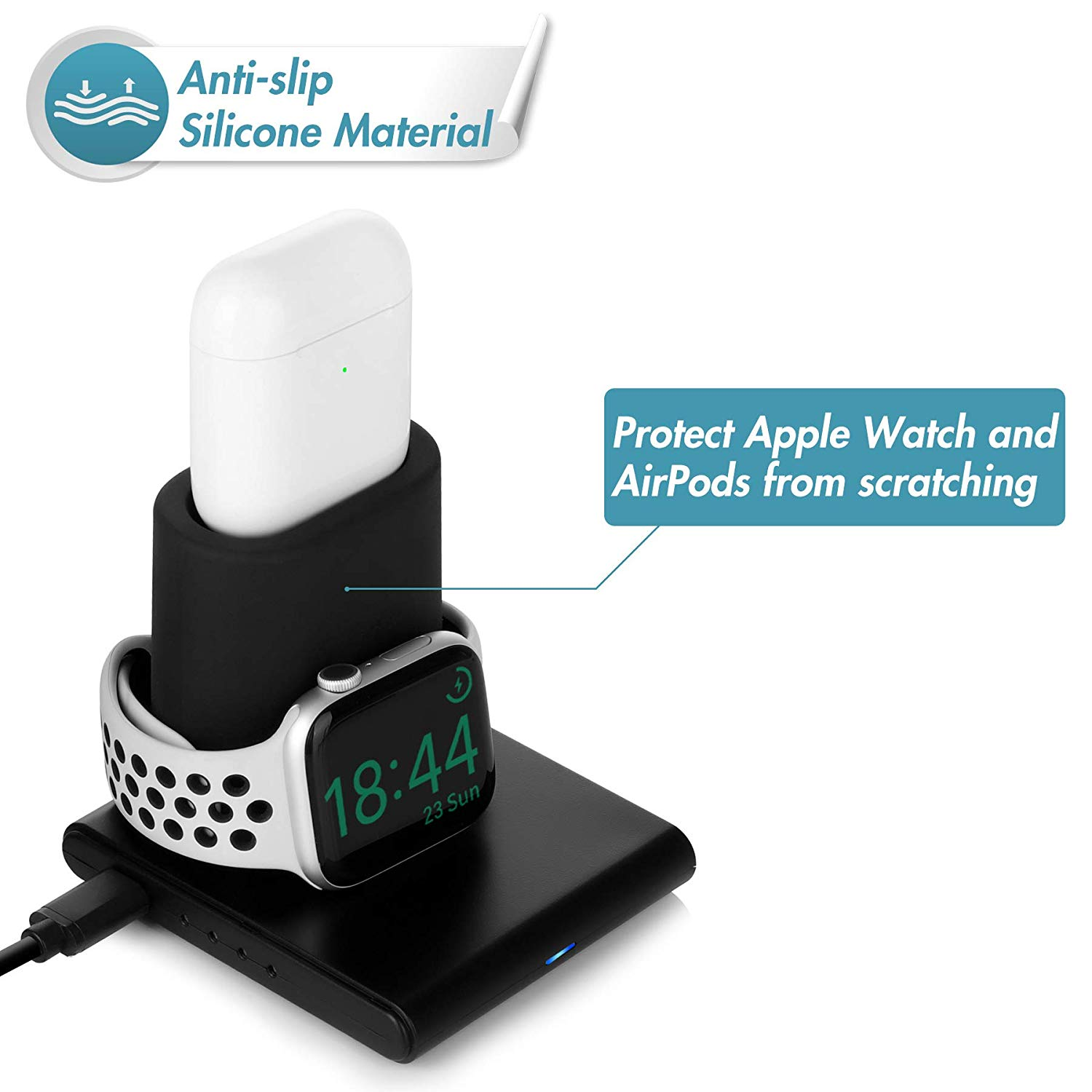 Q600 3 in 1 wireless charging station for apple watch airpod