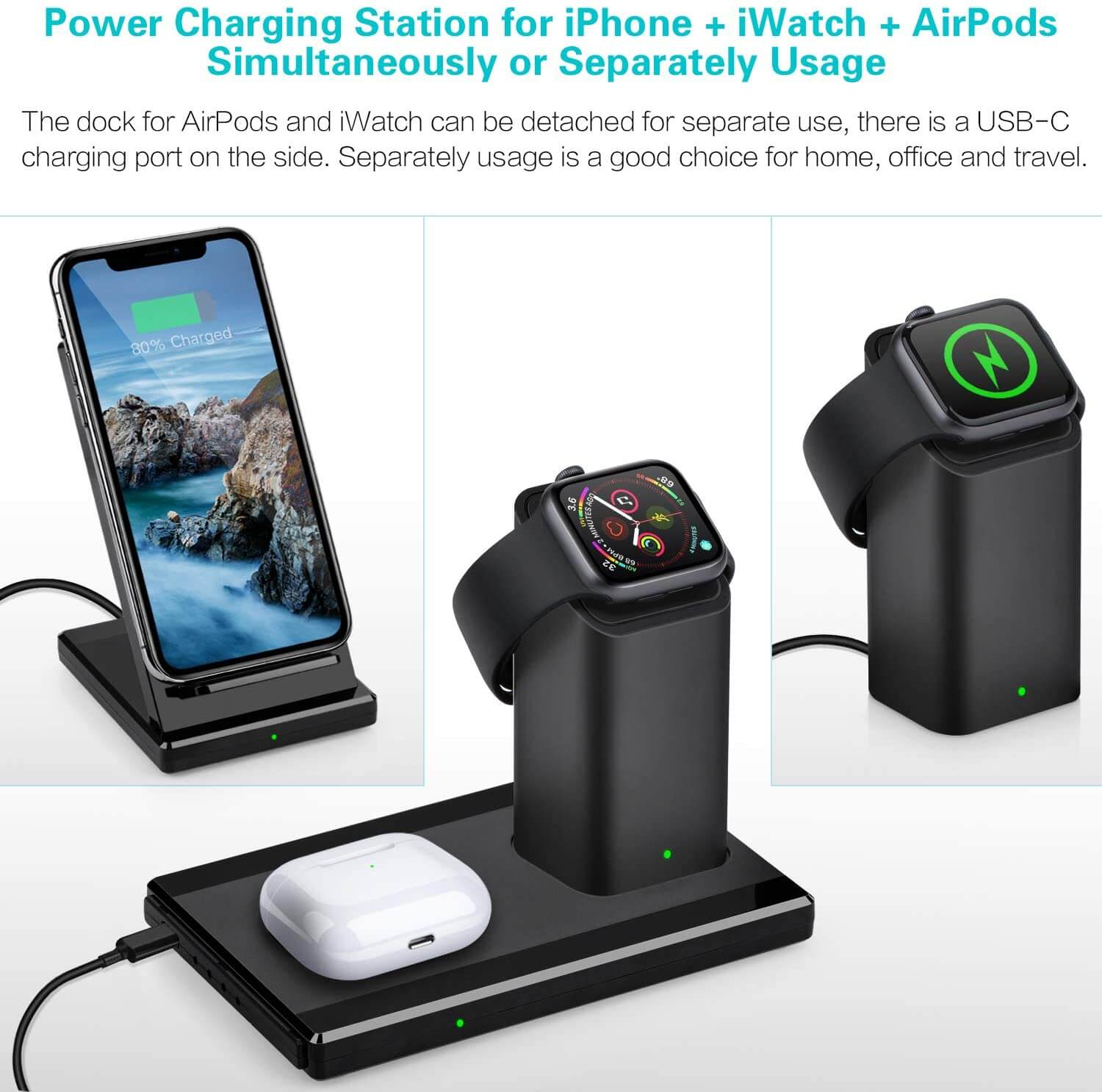 3 in 1 apple watch airpods pro iphone fast wireless charger Q900 SMAMAO™